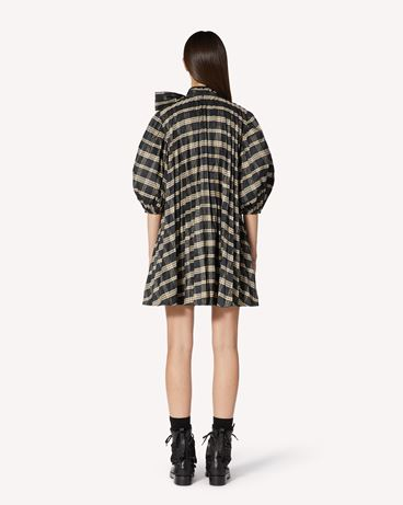 REDValentino  光泽格子呢褶饰连衣裙