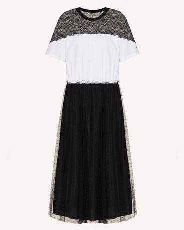 REDValentino 细点网眼薄纱和蕾丝平纹针织连衣裙