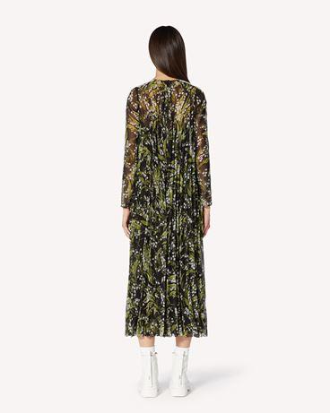 REDValentino 蕾丝饰带铃兰印纹细棉布褶饰连衣裙