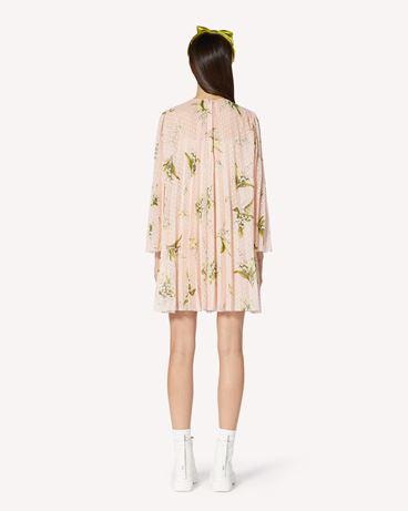 REDValentino 铃兰印纹薄花呢褶饰连衣裙