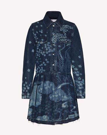 REDValentino Asian Toile de Jouy 激光印纹牛仔连衣裙