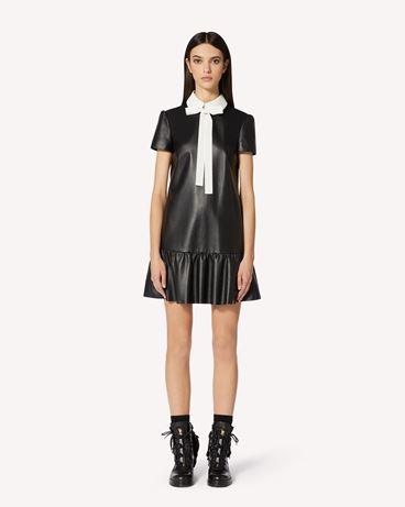 REDValentino 纳帕皮革领部细节皮革连衣裙