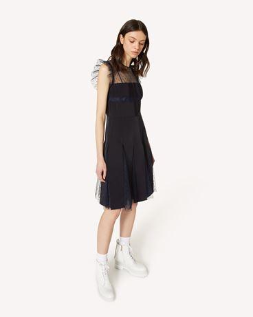 REDValentino 细点网眼薄纱连衣裙配罗缎饰带