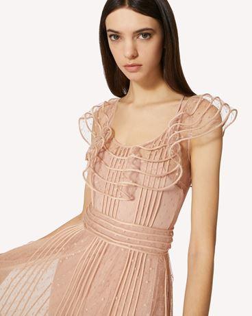 REDValentino 管饰刺绣细点网眼薄纱连衣裙