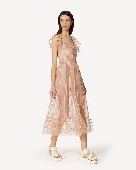 管饰刺绣细点网眼薄纱连衣裙