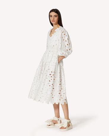 REDValentino  镂花刺绣棉质府绸连衣裙