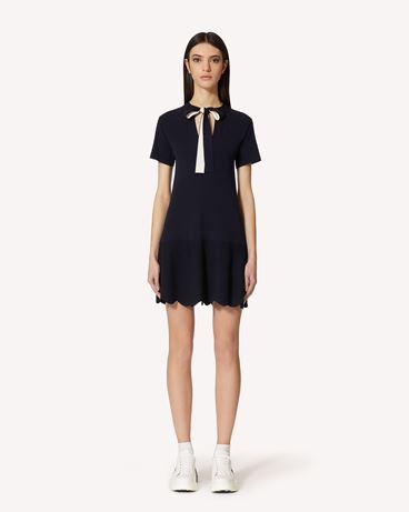 REDValentino 扇形细节弹力粘胶纤维针织连衣裙