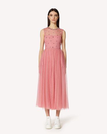REDValentino 水钻刺绣细点网眼薄纱连衣裙