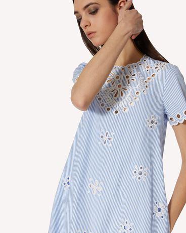 REDValentino Sangallo 刺绣条纹棉质连衣裙