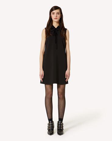 REDValentino 科技卡迪与天鹅绒衣领连衣裙