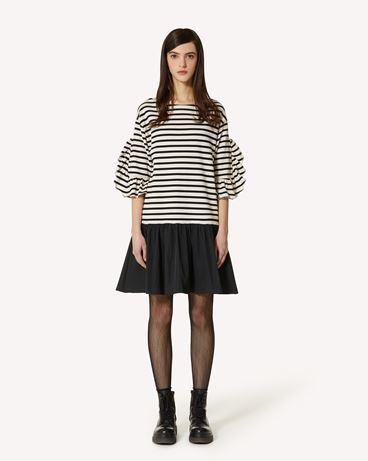 REDValentino 条纹 T 恤式连衣裙配塔夫绸
