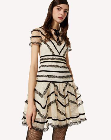 REDValentino 细点网眼b偶是连衣裙配蕾丝与天鹅绒饰带