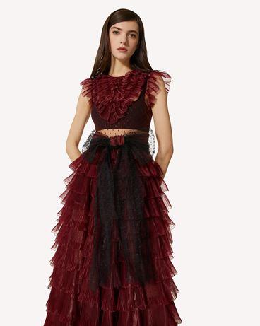 REDValentino 细点网眼薄纱连衣裙配欧根纱荷叶边