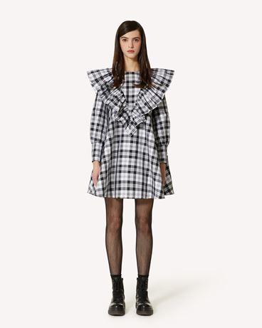 REDValentino 褶饰细节花呢格纹塔夫绸连衣裙