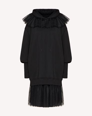 "REDValentino ""The Black Tag""。<br>- 细点网眼薄纱装饰卫衣式连衣裙"