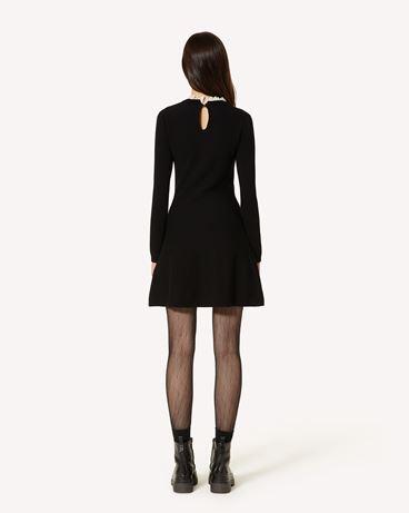 REDValentino 玫瑰刺绣 弹力粘胶纤维针织连衣裙