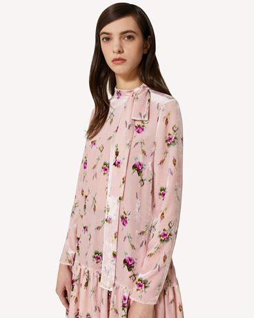 REDValentino Sweet Roses 印纹天鹅绒连衣裙