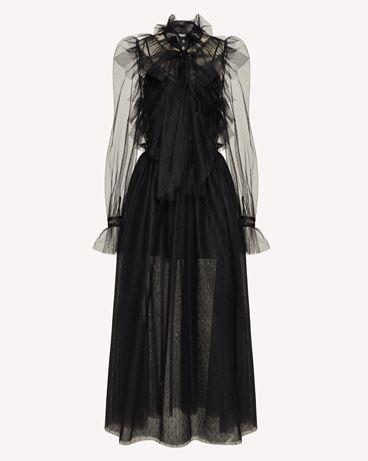 REDValentino The Black Tag。<br>- 褶饰细点网眼薄纱连衣裙