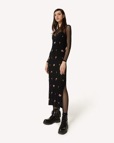 REDValentino 玫瑰刺绣棉质针织连衣裙
