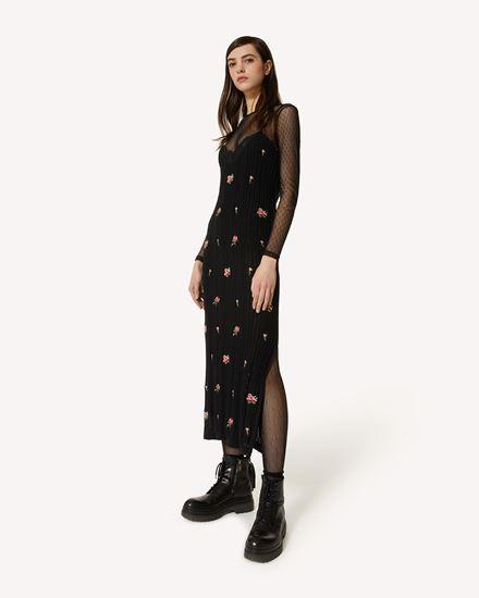 玫瑰刺绣棉质针织连衣裙