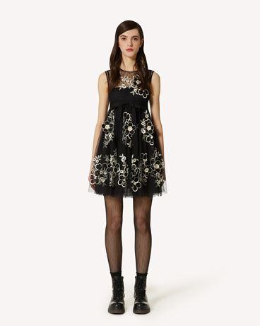 REDValentino 花卉刺绣细点网眼薄纱连衣裙