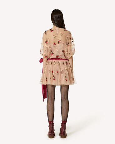 REDValentino 甜玫瑰刺绣圆点织花薄纱连衣裙
