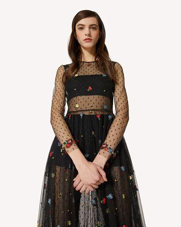 REDValentino Delicate Flowers 刺绣细点网眼薄纱连衣裙