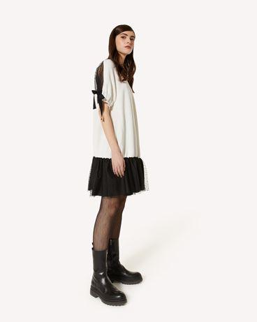 REDValentino 粗纺羊毛混纺针织连衣裙配细点网眼薄纱