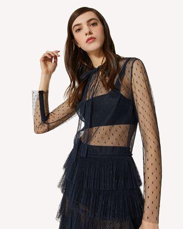 REDValentino 细点网眼薄纱褶边连衣裙