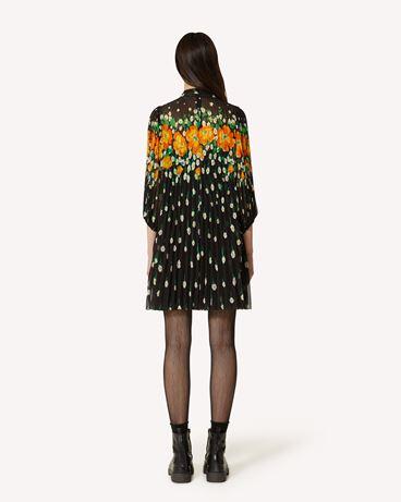 REDValentino Flower Explosion 印纹乔其纱褶饰连衣裙