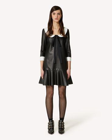 REDValentino 皮革衣领连衣裙