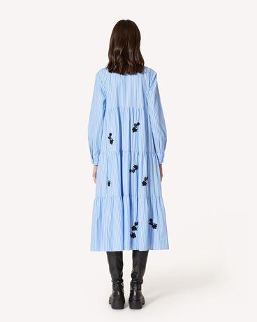 REDValentino 花卉刺绣条纹棉质连衣裙