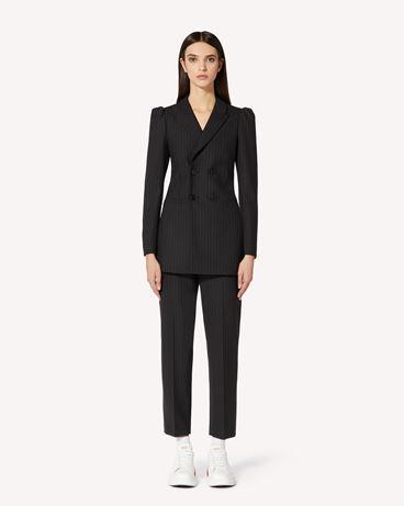 REDValentino 细条纹羊毛双排扣夹克