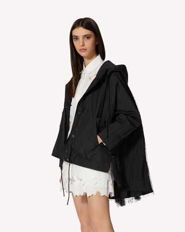 REDValentino The Black Tag 系列。  - 塔夫绸、细点网眼薄纱卡班大衣
