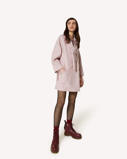 蝴蝶结细节双面羊毛羊绒大衣
