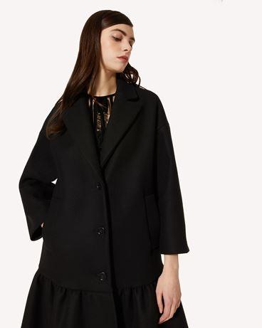 REDValentino 荷叶边双面羊毛羊绒大衣