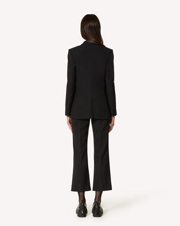 REDValentino 粘胶羊毛混纺华达呢与公爵夫人缎夹克