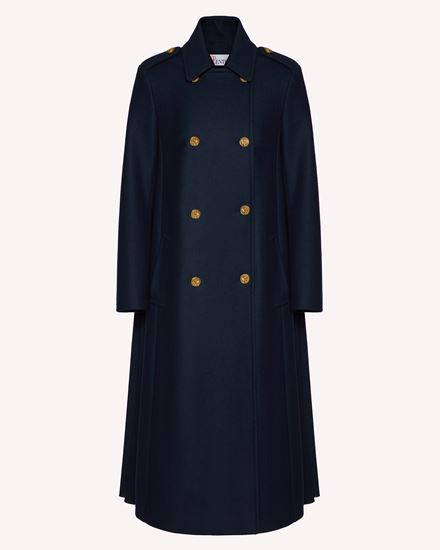 海军纽扣羊毛厚呢大衣