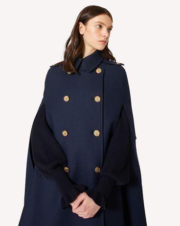 REDValentino 海军纽扣羊毛厚呢披肩