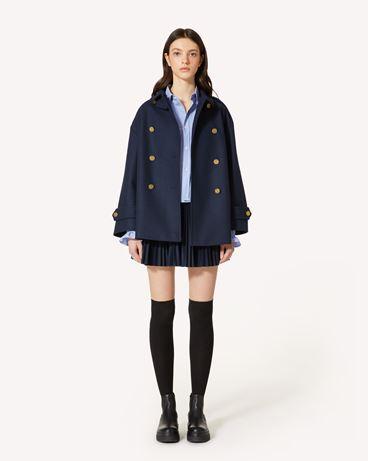 REDValentino 海军纽扣羊毛厚呢卡班大衣