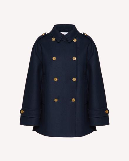 海军纽扣羊毛厚呢卡班大衣