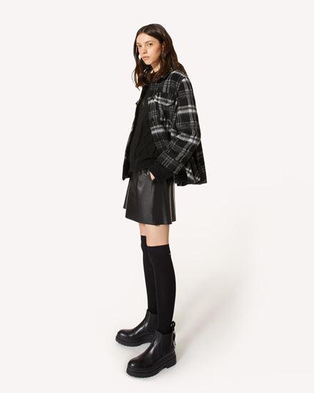 格纹羊毛夹克配褶裥