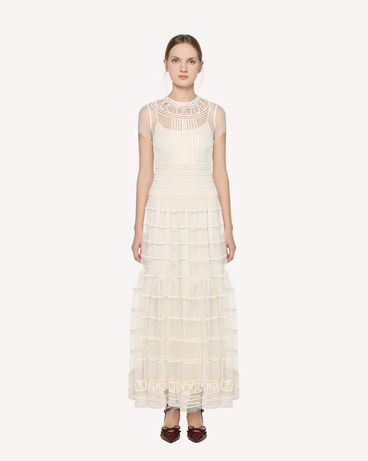 REDValentino 管状刺绣细点网眼薄纱连衣裙