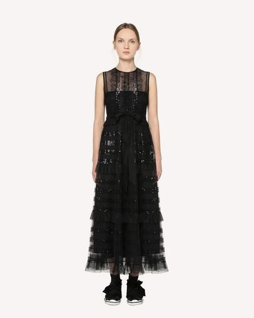 REDValentino 亮片装饰细点网眼薄纱连衣裙