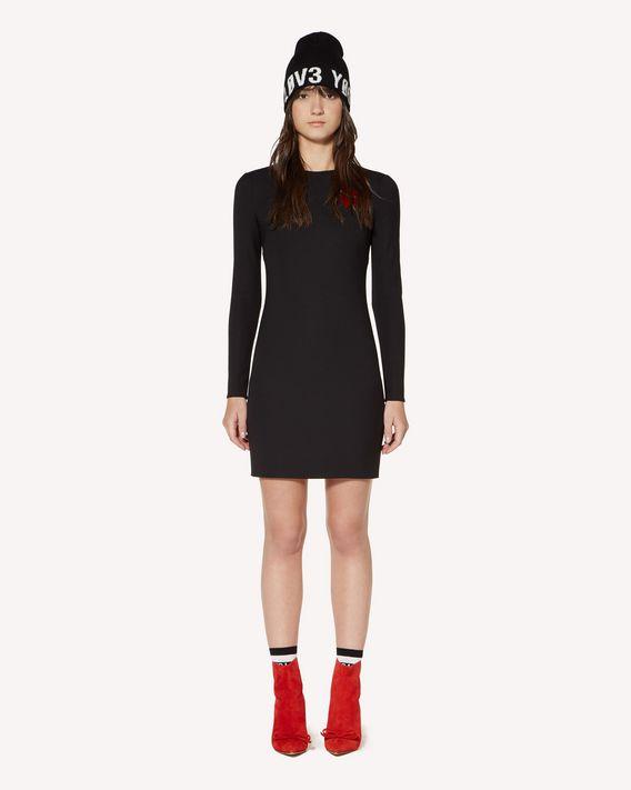 REDValentino 心形拼饰科技卡迪直筒连衣裙