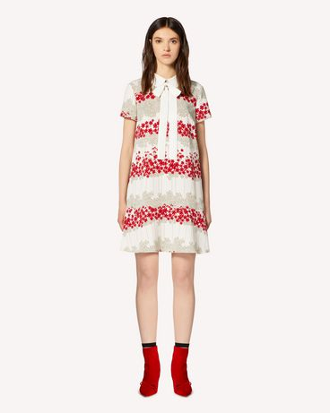 REDValentino 领部细节 Dreaming Peony 印纹马罗坎绉连衣裙