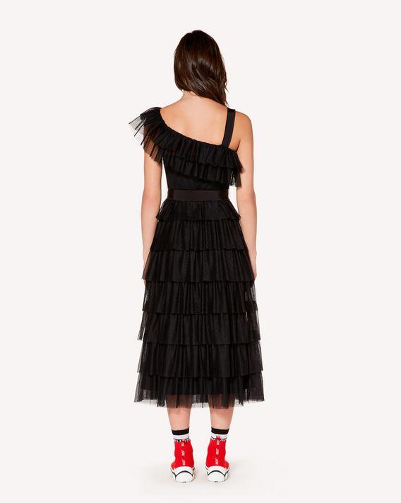 REDValentino 褶边细点网眼薄纱连衣裙