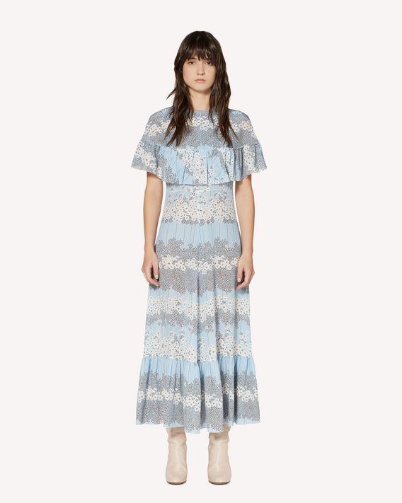 REDValentino 褶饰细节 Dreaming Peony 印纹真丝连衣裙