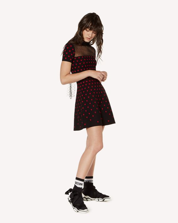 REDValentino 心形提花弹力粘胶连衣裙