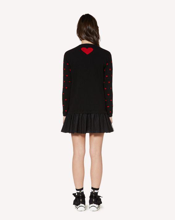 REDValentino 心形提花羊毛针织连衣裙